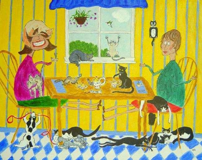 Art: Teatime with Tag by Artist Tracey Allyn Greene