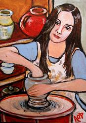 Art: Nibblefest Art Contest:  ACEO, 'The Pottery Wheel' by Artist Patience