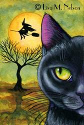Art: Halloween Eve Original Postcard Painting OSWOA by Artist Lisa M. Nelson