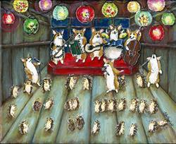 Art: A Christmas Corgi Hedgehog Hullabaloo by Artist Cathy Santarsiero