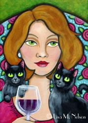 Art: Woman, Wine and Cats Modern Folk Art Cat Lady by Artist Lisa M. Nelson