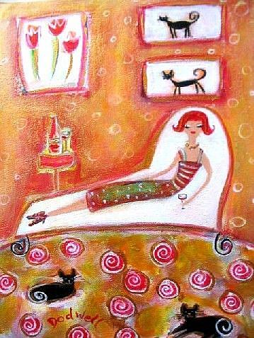 Art: Black Cat Diva & Wine by Artist Andrea Dodwell
