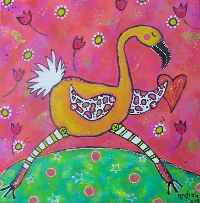 Art: Flamingo  by Artist Andrea Dodwell