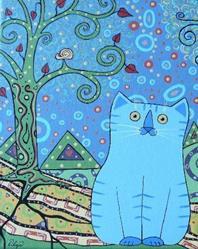 Art: klimt's blue wilbur RIP by Artist S. Olga Linville
