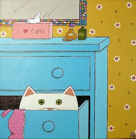 Art: Peeking ~ RIP 2009 by Artist S. Olga Linville