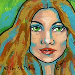Art: Original Textured Impasto Acrylic Painting Woman Portrait Green Eyes by Artist Lisa M. Nelson