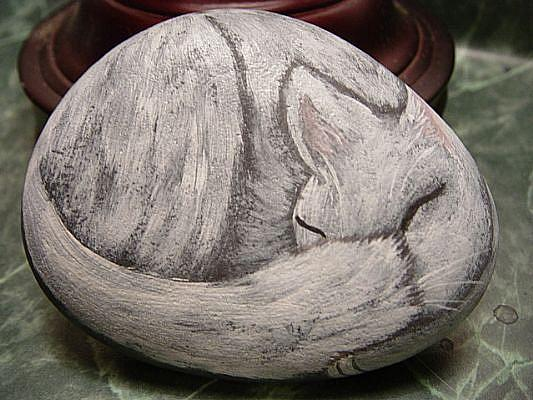 Art: white cat sleeping by Artist Tracey Allyn Greene