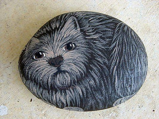 Art: cairn terrier rock painting by Artist Tracey Allyn Greene