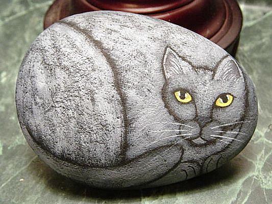 Art: grey cat rock painting by Artist Tracey Allyn Greene