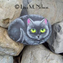 Art: Russian Blue Cat Folk Art Stone Painting by Artist Lisa M. Nelson
