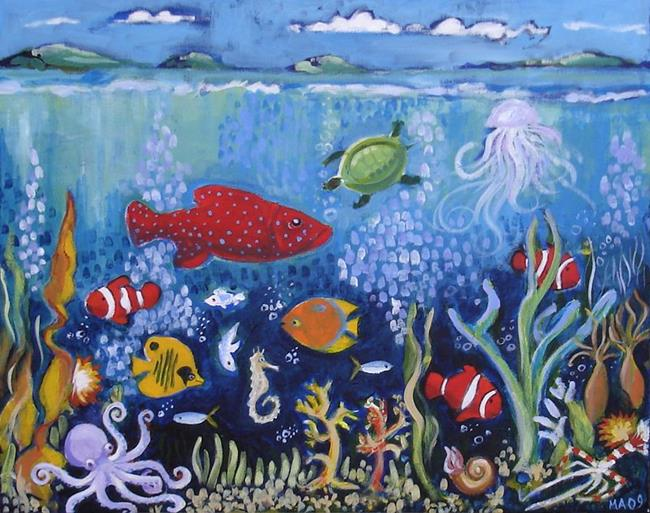 Art: Fifi's sea painting by Artist Muriel Areno