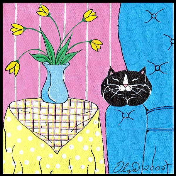 Art: Tux and yellow tulips by Artist S. Olga Linville