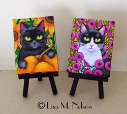 Art: Whimsical Folk Art Cat Paintings by Artist Lisa M. Nelson