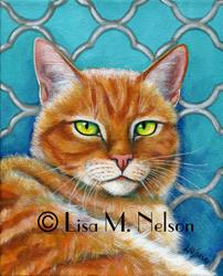 Art: orangecatonturquoisescanrawWM.jpg by Artist Lisa M. Nelson