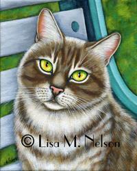 Art: Soulful Eyed Tabby Cat by Artist Lisa M. Nelson