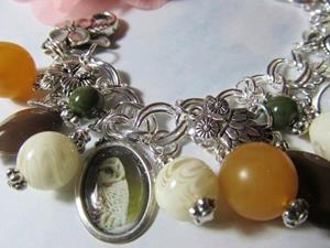 Detail Image for art Wise Owls Charm Bracelet Altered Art One of a Kind