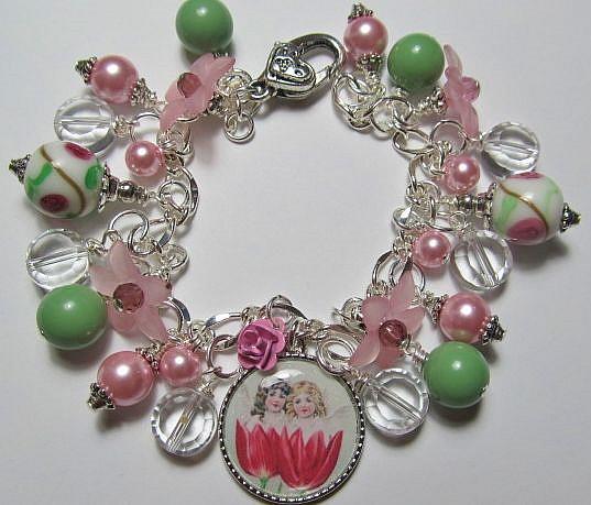 Art: SPRINGTIME Altered Art Charm Bracelet by Artist Lisa  Wiktorek
