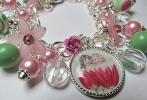 Detail Image for art SPRINGTIME Altered Art Charm Bracelet