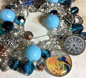 Detail Image for art Nancy Drew Altered art charm bracelet