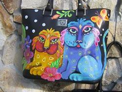 Art: Ke's Cats Lg shopper tote bag by Artist Ke Robinson