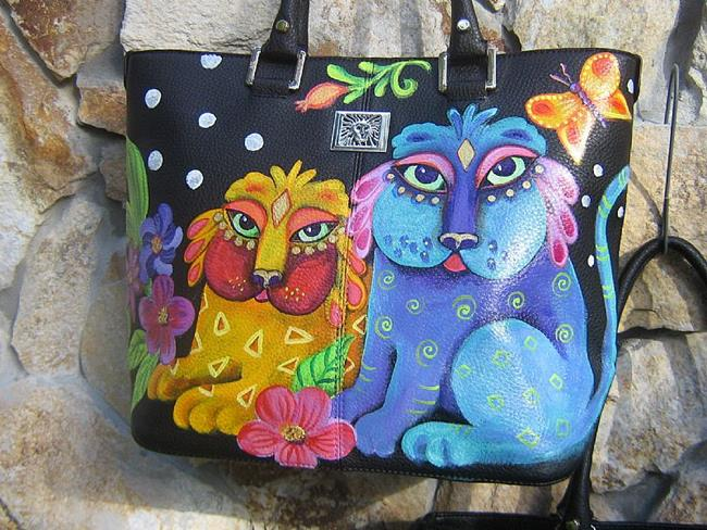 Art: Ke's Cats Lg shopper tote bag by Artist Ke Robinson