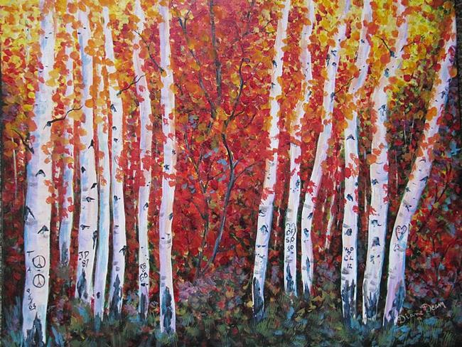 Art: Hart Prairie Aspens by Artist Diane Funderburg Deam