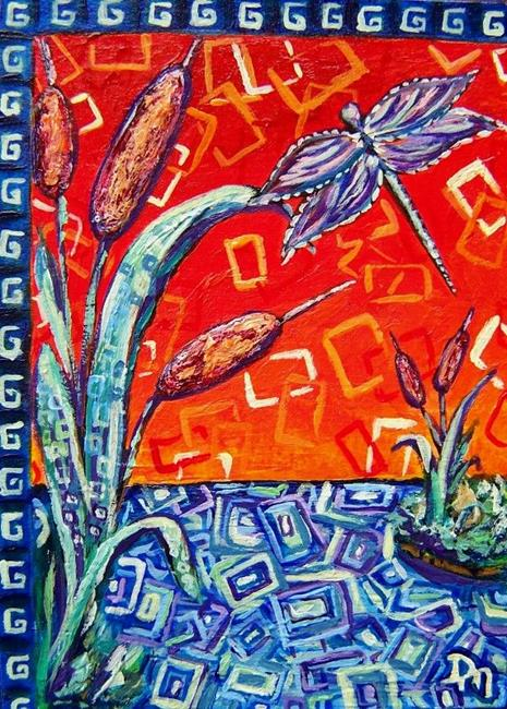 Art: Storybook Cattails and Dragonfly ~ ACEO ~ SOLD by Artist Dana Marie