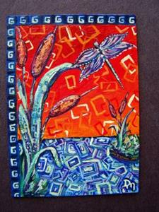 Detail Image for art <b>Storybook Cattails and Dragonfly ~ ACEO ~ SOLD