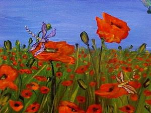Detail Image for art <b>Dragonflies and Poppies ~ A GIFT FOR A FRIEND