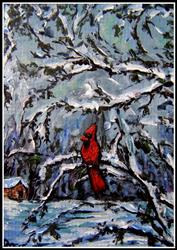 Art: Winter Cardinal ~ ACEO by Artist Dana Marie