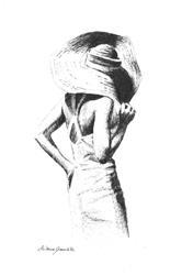 Art: Woman In A Hat by Artist Milena Gawlik