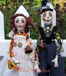 Art: Custom Zombie Bride and Groom Dolls by Artist Lisa M. Nelson