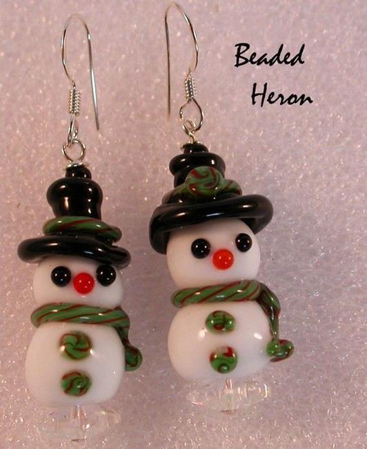 Art: Snowman Couple Lampwork Earrings by Artist Stephanie M. Daigle