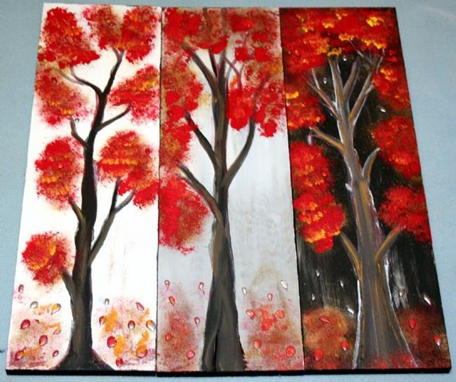 Art: RED AUTUMN TREES-sold by Artist LUIZA VIZOLI