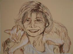 Art: Self Portrait - Me and Ezra by Artist Tracey Allyn Greene