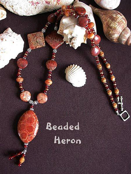 Art: Fossil Coral Necklace by Artist Stephanie M. Daigle