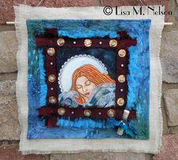 Art: The Sea is my comfort, the Moon is my rest Painted Art Quilt by Artist Lisa M. Nelson