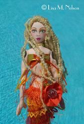 Art: Sunny, Original Boho Gypsy Mermaid Art Doll by Artist Lisa M. Nelson