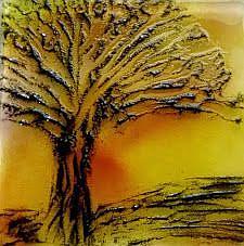 Art: tree at sunset by Artist Drita Harris