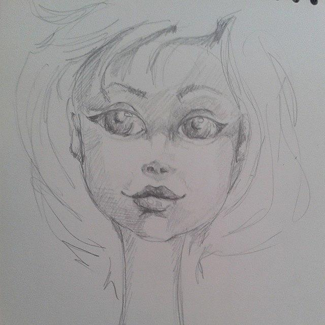 Art: Big eyed Girl Sketch #1 by Artist Noelle Hunt