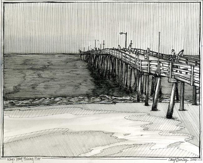 Art: Nags Head Fishing Pier by Artist Cary Dunlap Daly
