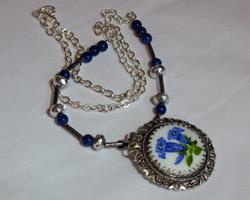 Art: Painted Flower Re-vintaged Necklace by Artist Dorothy Edwards
