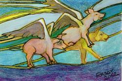 Art: When Pigs Fly (Up Up & A-Weigh) by Artist Judith A Brody
