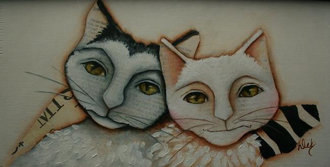 Art: Deux Chats by Artist Deb Harvey