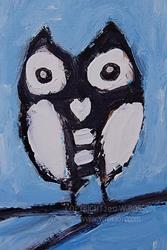 Art: Black & White Owl by Artist Windi Rosson