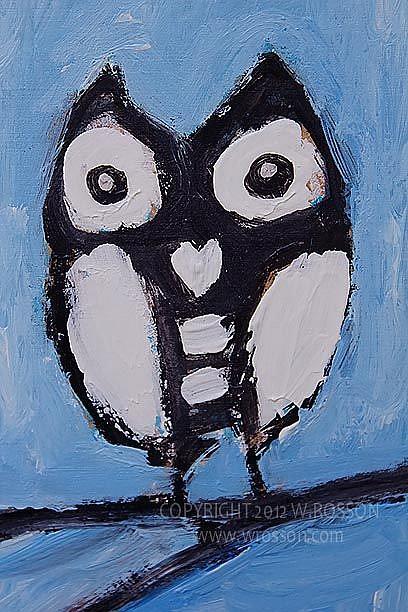 Art: Black & White Owl by Artist Windi Rosson