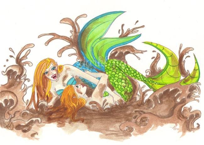Art: Mermaid Mud Wrestling by Artist Emily J White