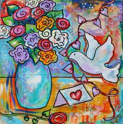 Art: Hearts and Flowers by Artist Melanie Douthit