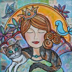 Art: The Queen with the Calico Cat by Artist Melanie Douthit