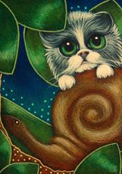 Art: BICOLOR FAIRY CAT PLAYING WITH A SNAIL by Artist Cyra R. Cancel